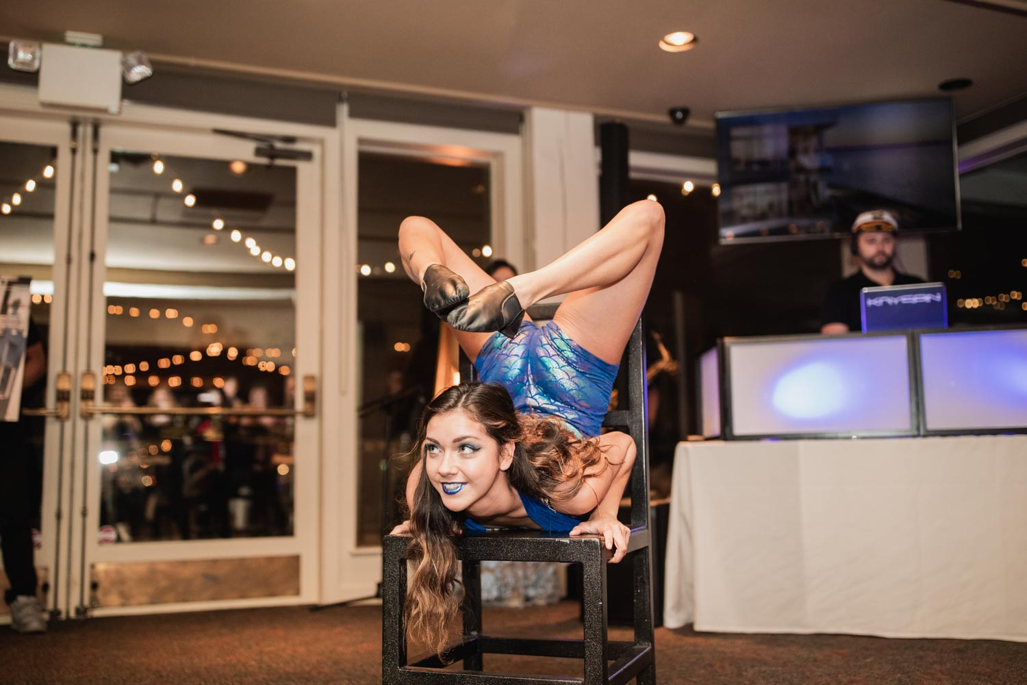 Acrobatic performer at Realogics Sotheby's International Realty (RSIR) groundbreaking event party.